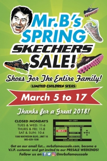 Mr.B's Skechers Spring Shoe Sale 2019