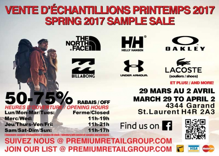 North Face, Oakley and Helly Hansen  Warehouse Sale 2017 Montreal