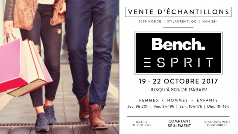 Bench Esprit Sample Sale Fall 2017