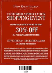 Polo Ralph Lauren Appreciation Sale 2018