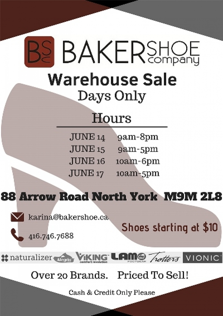 Baker Shoe Warehouse Sale 2018