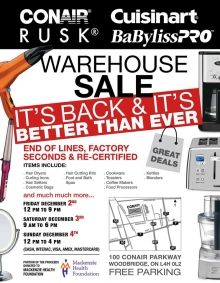Conair and Cuisinart Warehouse Sale 2016