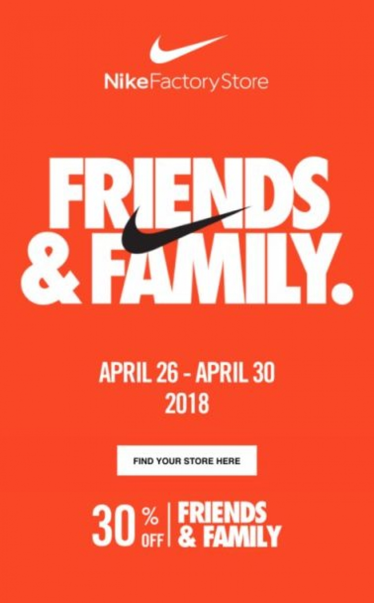 Nike Factory Store 30% OFF (Family&Friends Event)