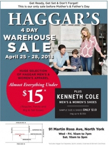Haggar's 4 Day Warehouse Sale 2018
