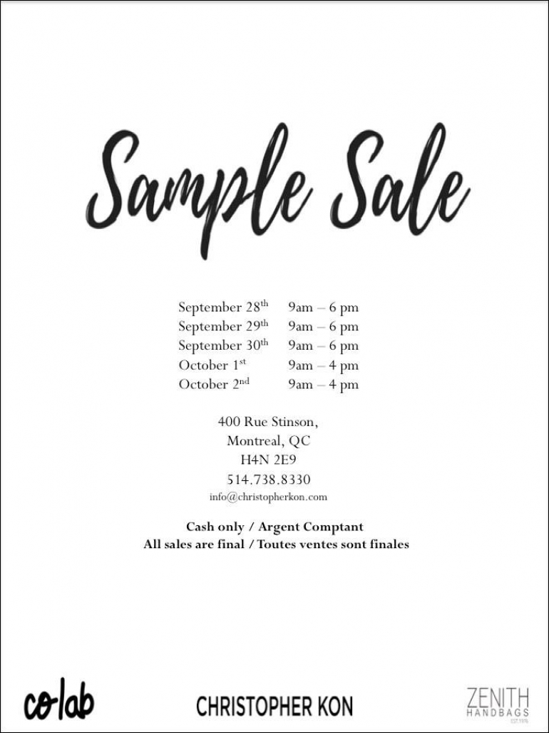 Christopher Kon & Co-lab Sample Sale Fall 2016