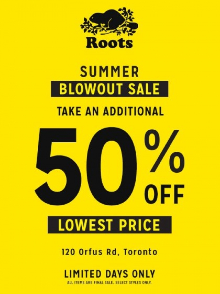 The ROOTS Summer Blowout Sale Toronto 2017