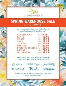 J. Michaels Spring Warehouse Sale 2017