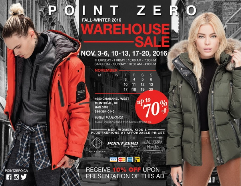 Point Zero Warehouse Sale Fall 2016