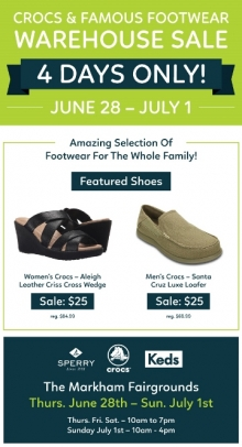 Crocs Warehouse Sale Summer 2018