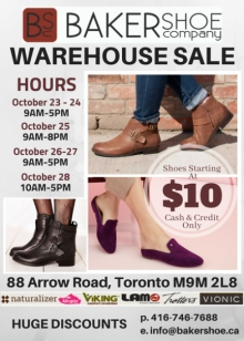 Baker Shoe Warehouse Sale Oct 2018