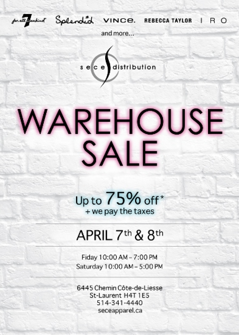 Se Ce Apparel Warehouse Sale 2017