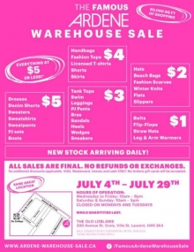 Ardene Warehouse Sale 2018