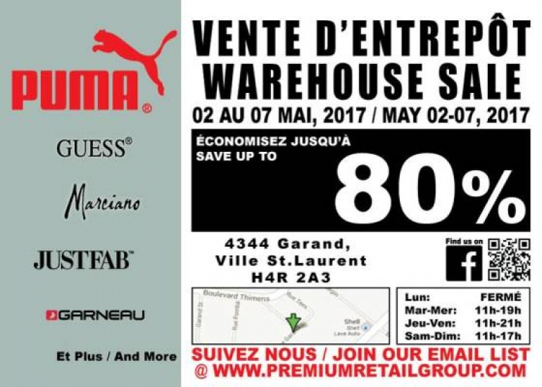 PUMA Warehouse Sale 2017