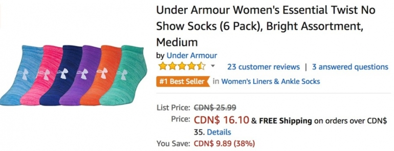 Amazon Canada Deals: Save 38% on Under Armour Women's Essential Twist No Show Socks