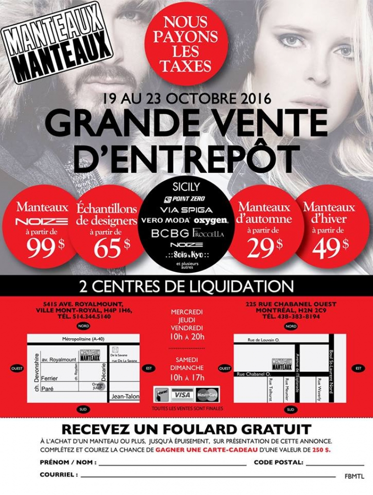Manteaux Manteaux Coats Warehouse Sale 2016