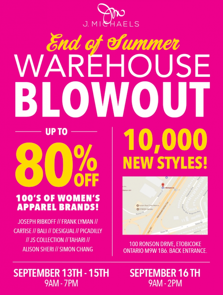 J. Michaels End of Summer Warehouse Blowout 2017