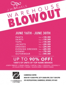 J. Michaels Warehouse Blowout Summer Sale 2018