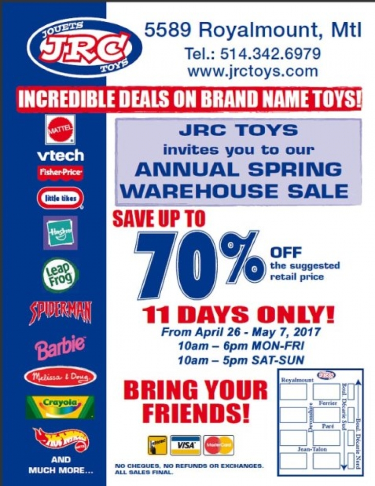 JRC TOYS Spring Warehouse Sale 2017