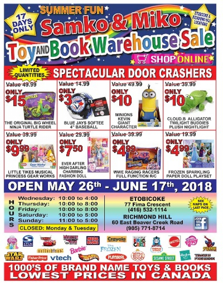 Samko & Miko Toy and Book Warehouse Sale Summer 2018