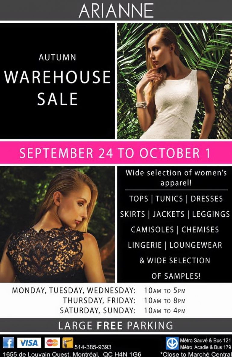 Arianne Lingerie Warehouse Sale Fall 2016