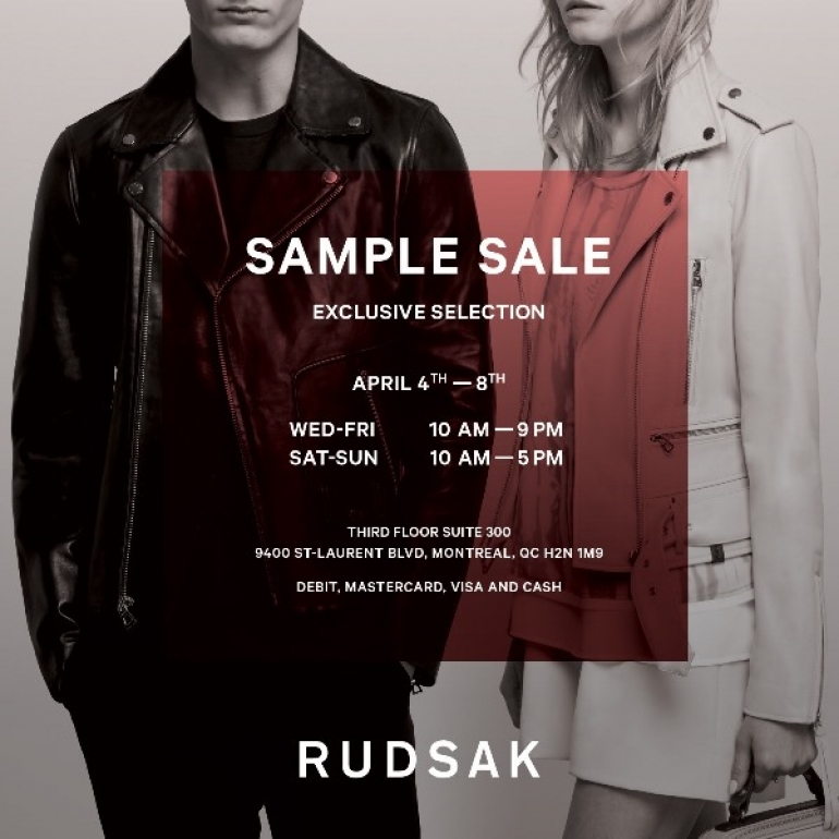 Montreal Rudsak sample sale 2018